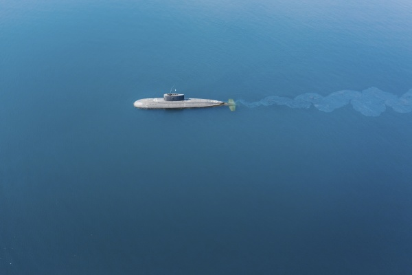 aerial view of a submarine crossing