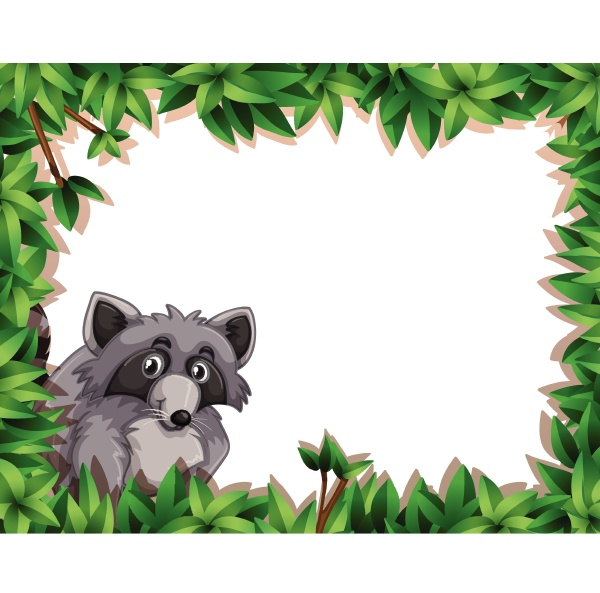 raccoon on note template