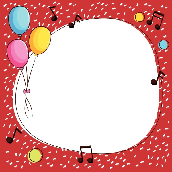 border template with balloons and music