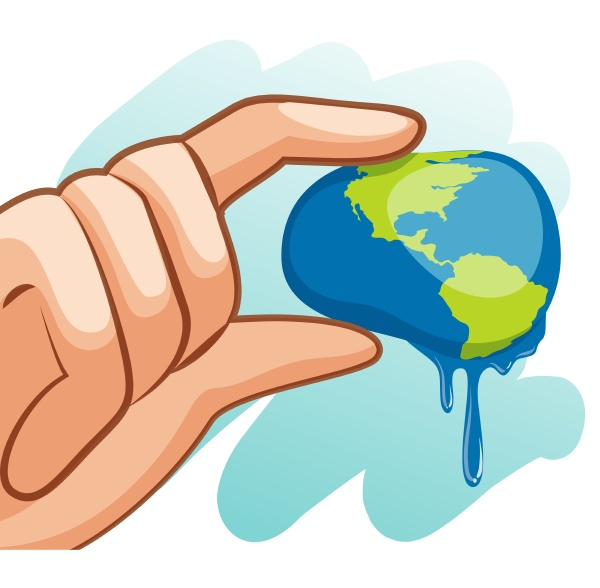 save water theme with hand squeezing