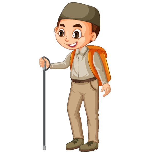 muslim boy with hiking stick on