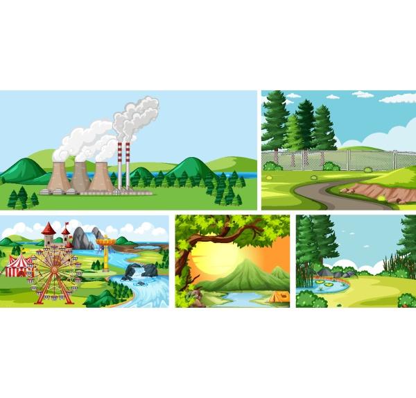 set of outdoor landscape