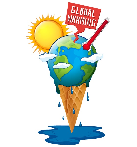 global warming with earth and hot