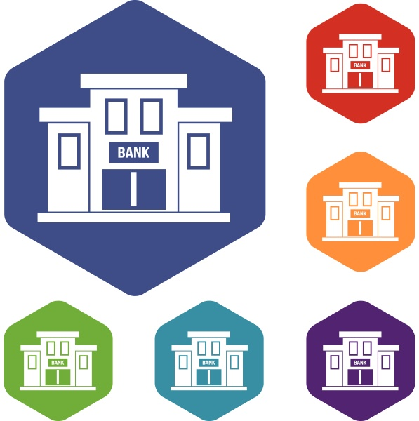 bank building icons set
