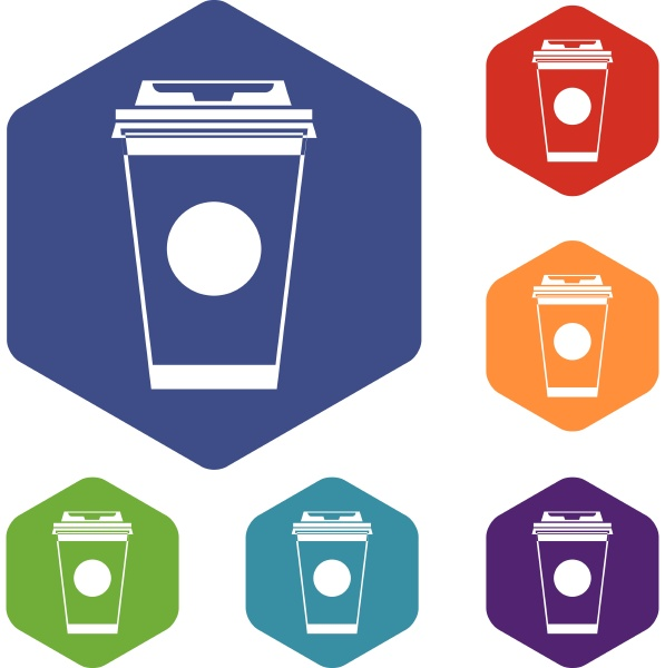 paper coffee cup icons set