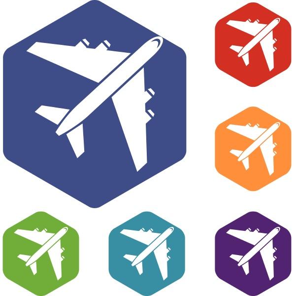 passenger airliner icons set