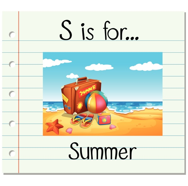 flashcard letter s is for summer