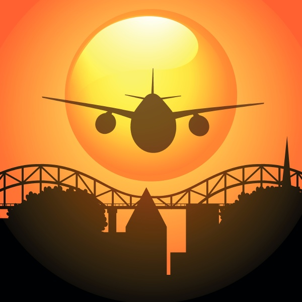 silhouette scene with airplane flying over