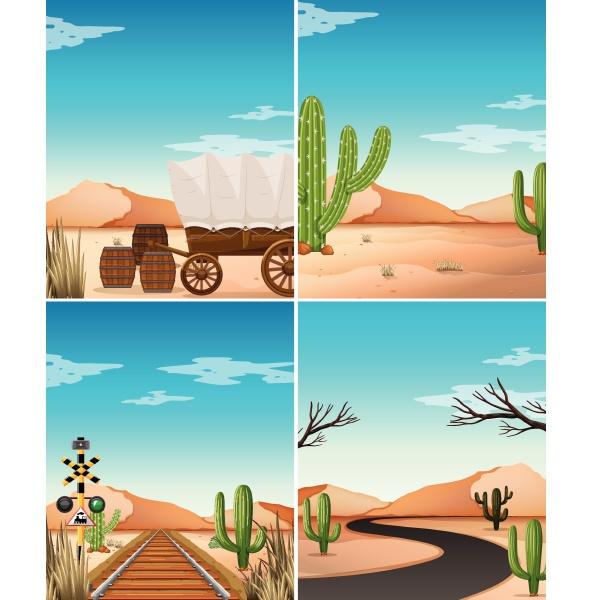 four desert scenes with cactus in