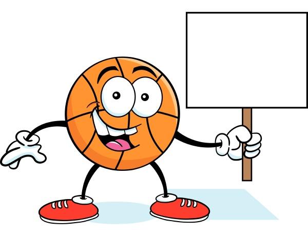 cartoon illustration of a basketball holding
