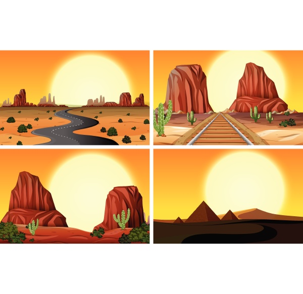 a set of desert landscape