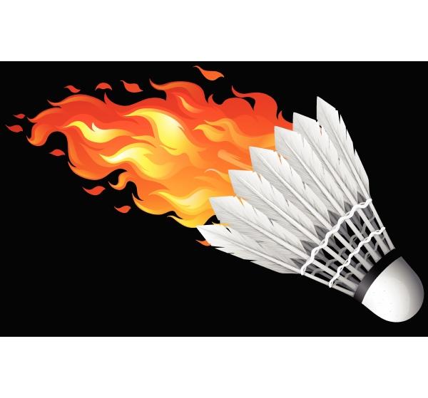 flaming shuttlecock on black