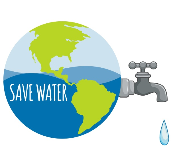 save water sign with tap water