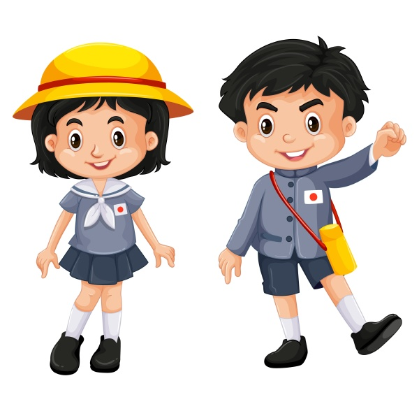 japanese boy and girl in school