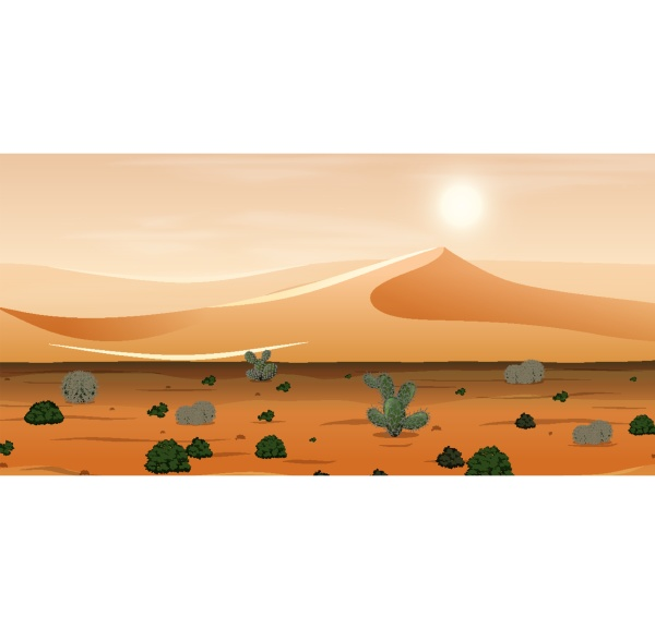 desert with sand mountains and cactus