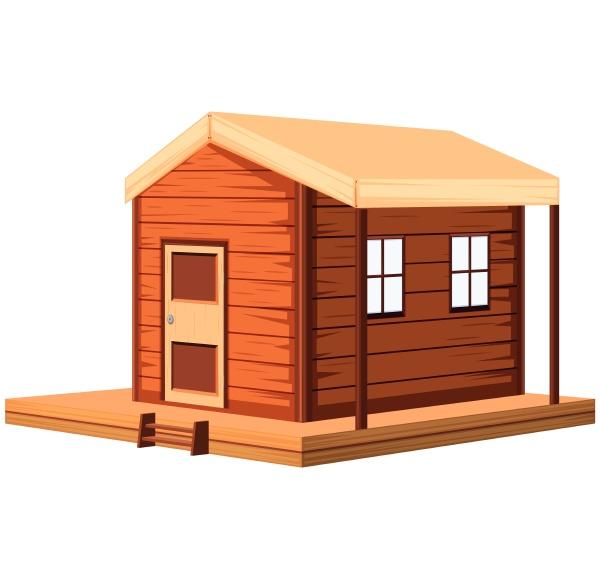 wooden cottage in 3d design