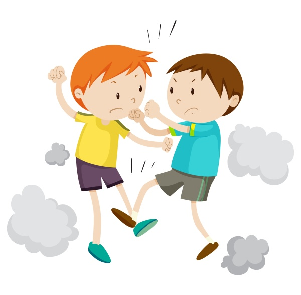 two boy fighting each other