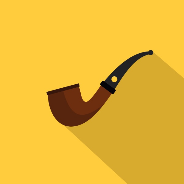 wooden pipe for smoking icon flat
