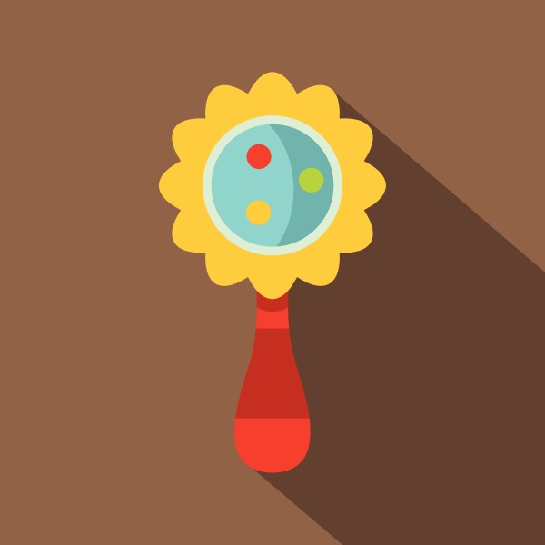 colorful baby rattle icon flat style