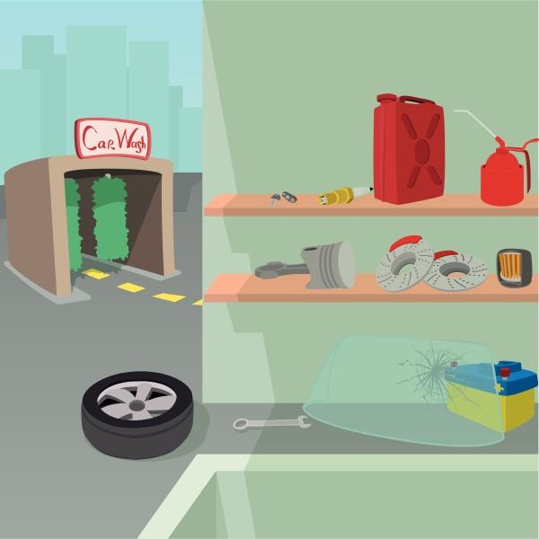 car repair service concept cartoon style