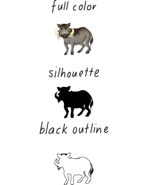 set of wild boar in color