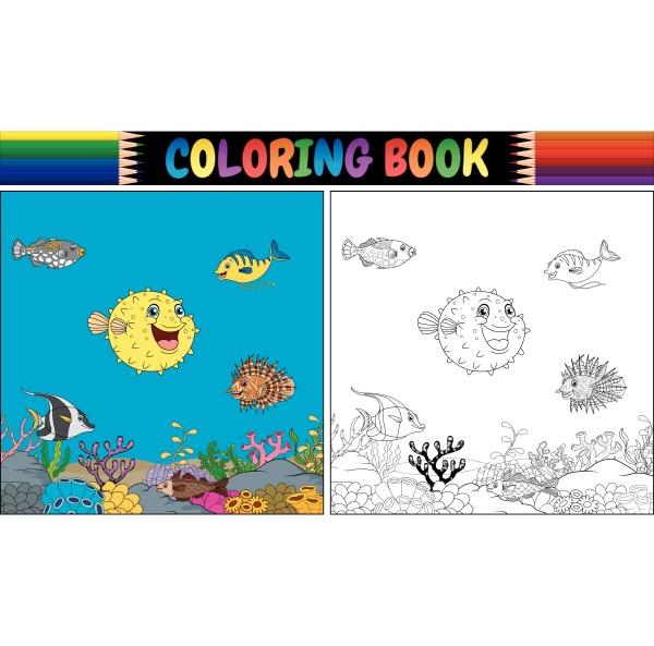 coloring book various fish undersea