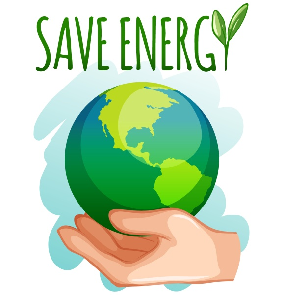 save energy sign with earth on