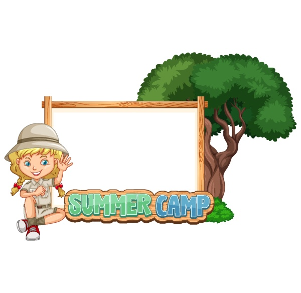 border template design with girl at