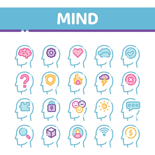 mind collection elements signs vector icons