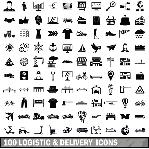 100 logistic and delivery icons set