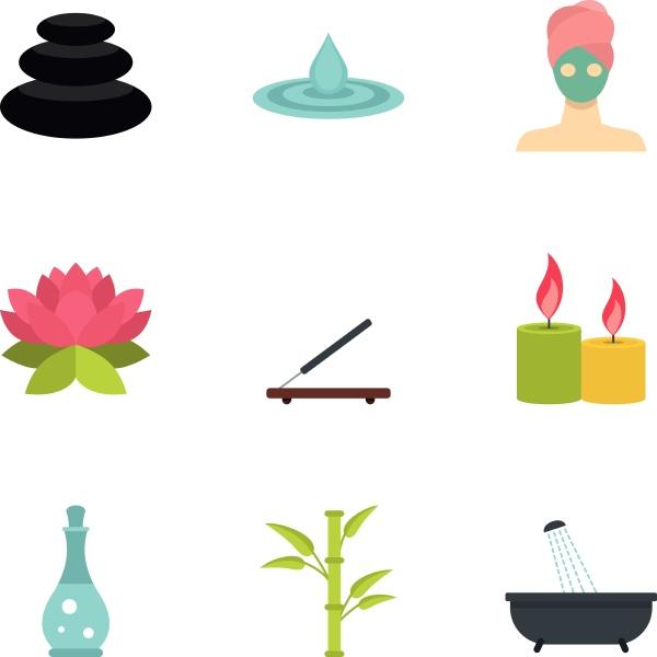 wellness elements icons set flat style