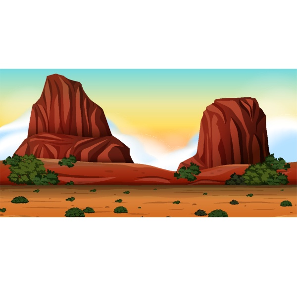 desert with rock mountains landscape at
