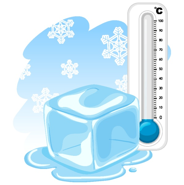 thermometer and cool ice