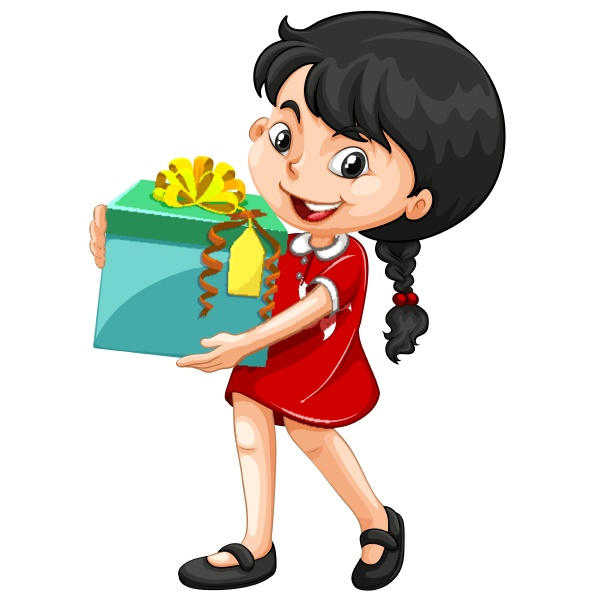 little girl holding a box of