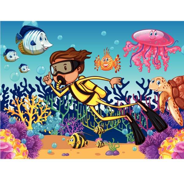 diver diving underwater with many sea