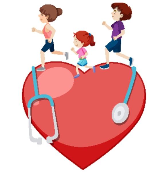 three people running on big heart
