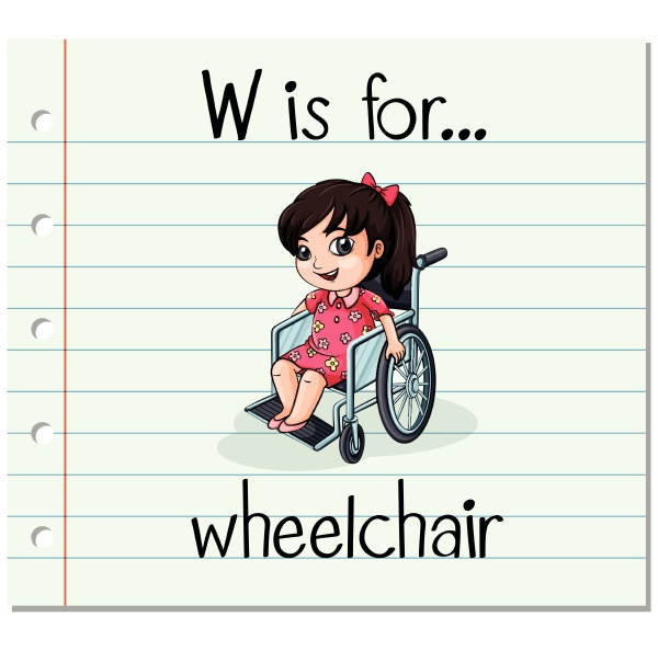 flashcard letter w is for wheelchair