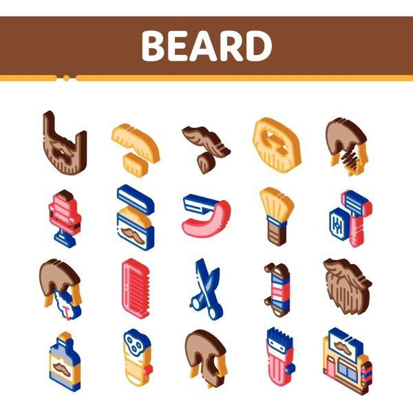 beard and mustache isometric icons set