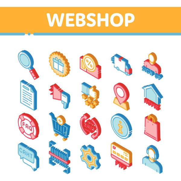 webshop internet store isometric icons set