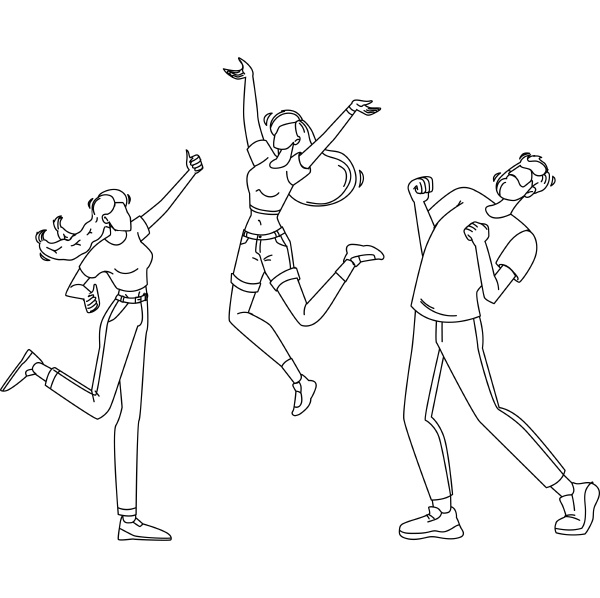 happy people jumping enthusiasm emotion vector