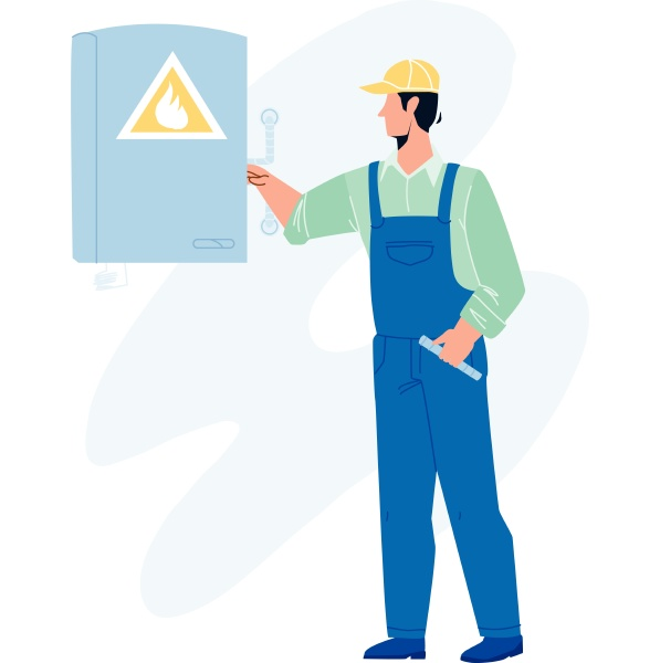 gas technician worker check heating boiler
