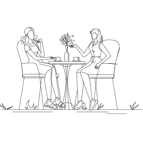 girl friends talk and drink coffee