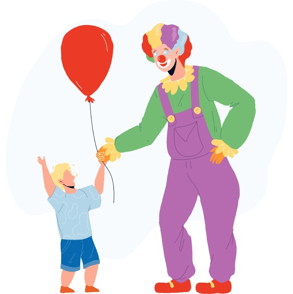 clown giving to little boy child