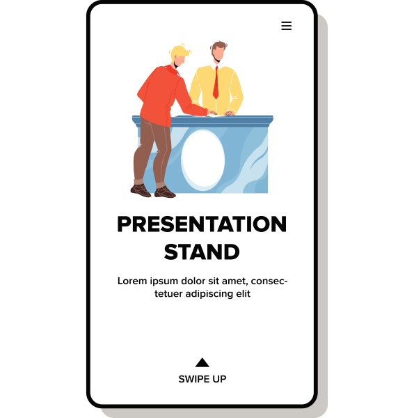 presentation stand consultant talk with client