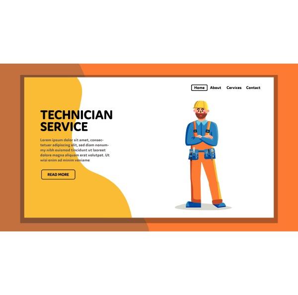 technician service worker technical support vector