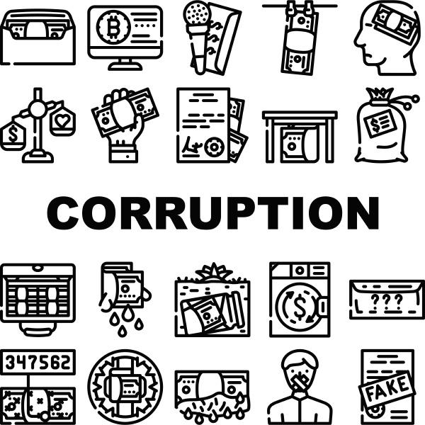 corruption problem collection icons set vector