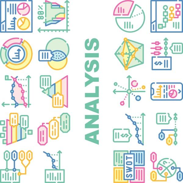 data analysis diagram collection icons set