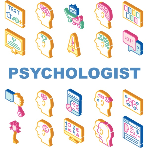 psychologist doctor collection icons set vector