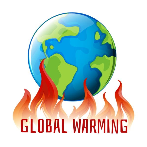 global warming sign with earth on