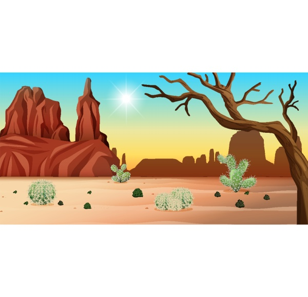 desert with rock mountains and cactus